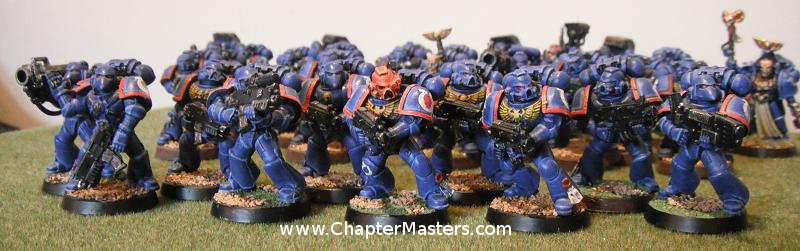 Spacemarine Tactical Squad 1998 plastics box set painted Ultramarine Thrid Company