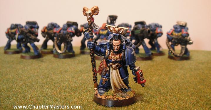 Out of Production 1994 Librarian, Ultramarine Librarian, Space marine Librarian, Librarian with force staff