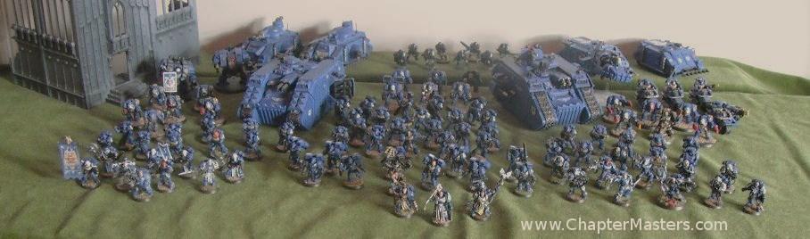 Ultramarine Forth Company, Ultramarine 4th Company, Large Ultramarine army, Apocalypse, Warhammer 40,000, Warhammer 40000, Warhammer 40k, 40k, Space Marines