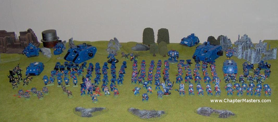 Ultramarines Thrid Company, Large Ultramarine army, Apocalypse, 2nd edition ultramarine Army, Rouge trader, Space Marines