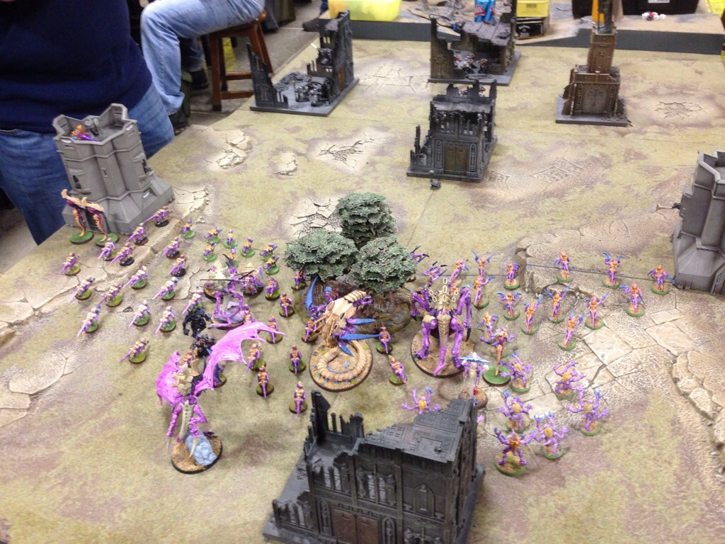 The Tyranid hoard lead by a Swam Lord ready to overwhelm the Grey Knights
