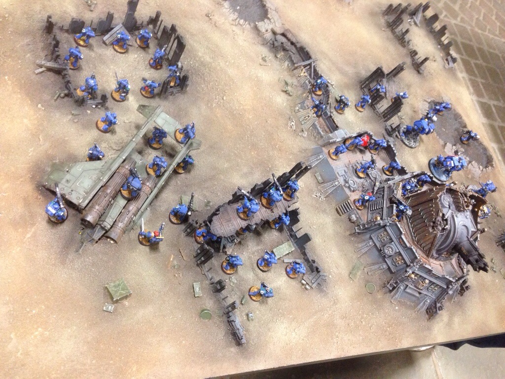 Ultramarines deploy five Devastator squads and four dreadnoughts on the right flank