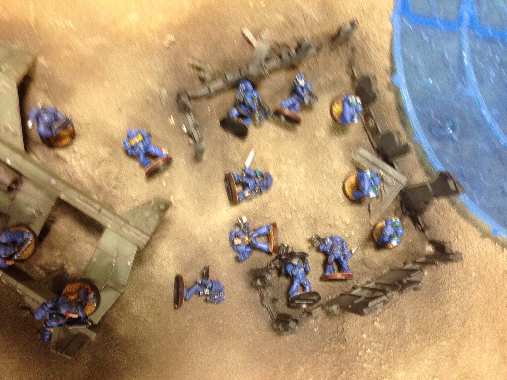 Eight Ultramarines are killed by the Bane Blade