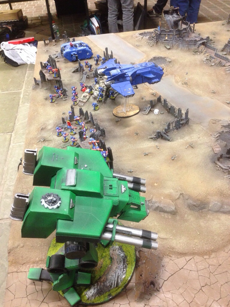 The Ultramarine's re-enforce their left flank with a Land Raider and Storm Eagle.