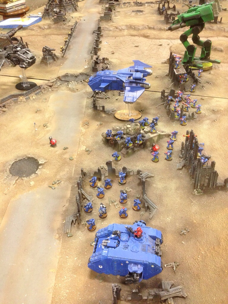 The Grey Knights advance on the unclaimed objective