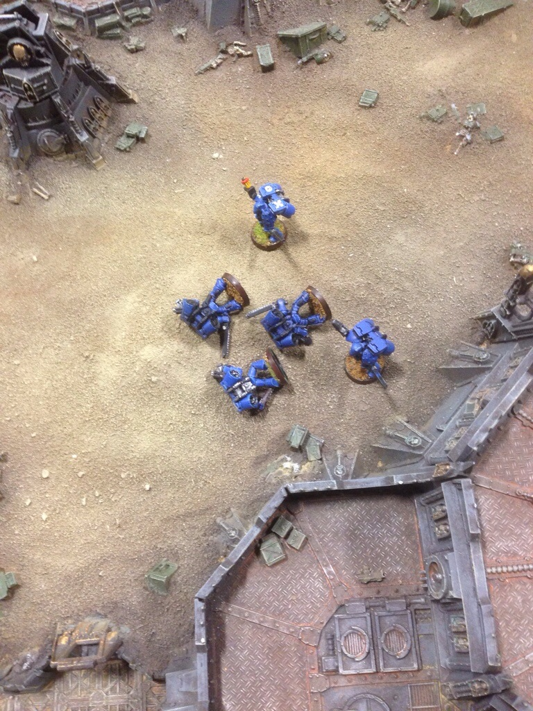 The Ultramarine Assault squad losses all bar one